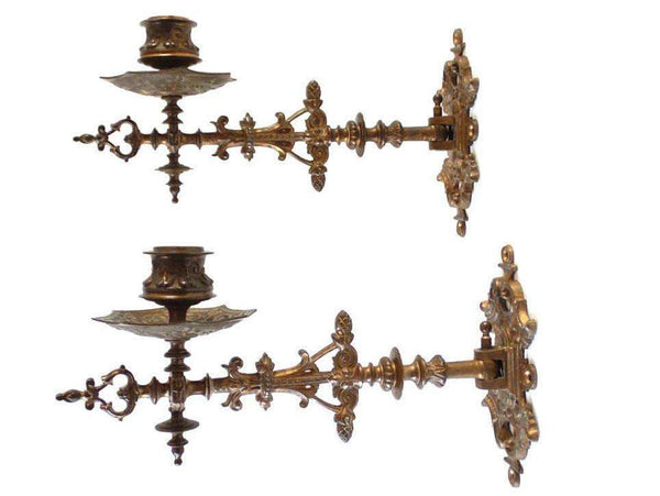 UpperDutch:Candelabras,Piano Sconses  Pair Antique Solid Brass Victorian Piano Candelabra  piano candle holder, candle wall sconce.