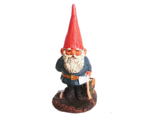 UpperDutch:Gnomes,Gnome figurine, Al-Joe, Klaus Wickl 1993, Enesco, Rien Poortvliet, Miniature collectible gnomes, gnome with ax.