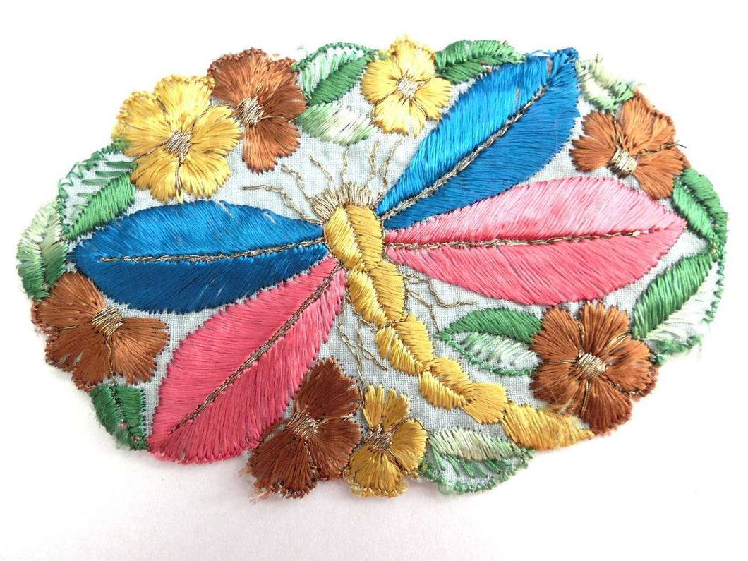 UpperDutch:Sewing Supplies,Dragonfly Applique, 1930s vintage embroidered dragonfly applique. Vintage patch, sewing supply. Applique, Crazy quilt.