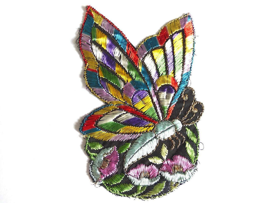 UpperDutch:Sewing Supplies,Antique Applique butterfly applique, 1930s vintage embroidered applique. Vintage floral patch, sewing supply.