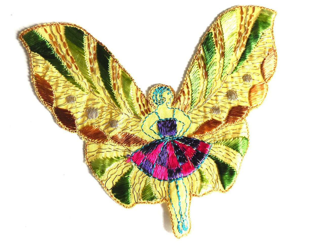 UpperDutch:Sewing Supplies,Antique Applique, fairy, butterfly applique, 1930s vintage embroidered applique. Vintage patch, sewing supply.