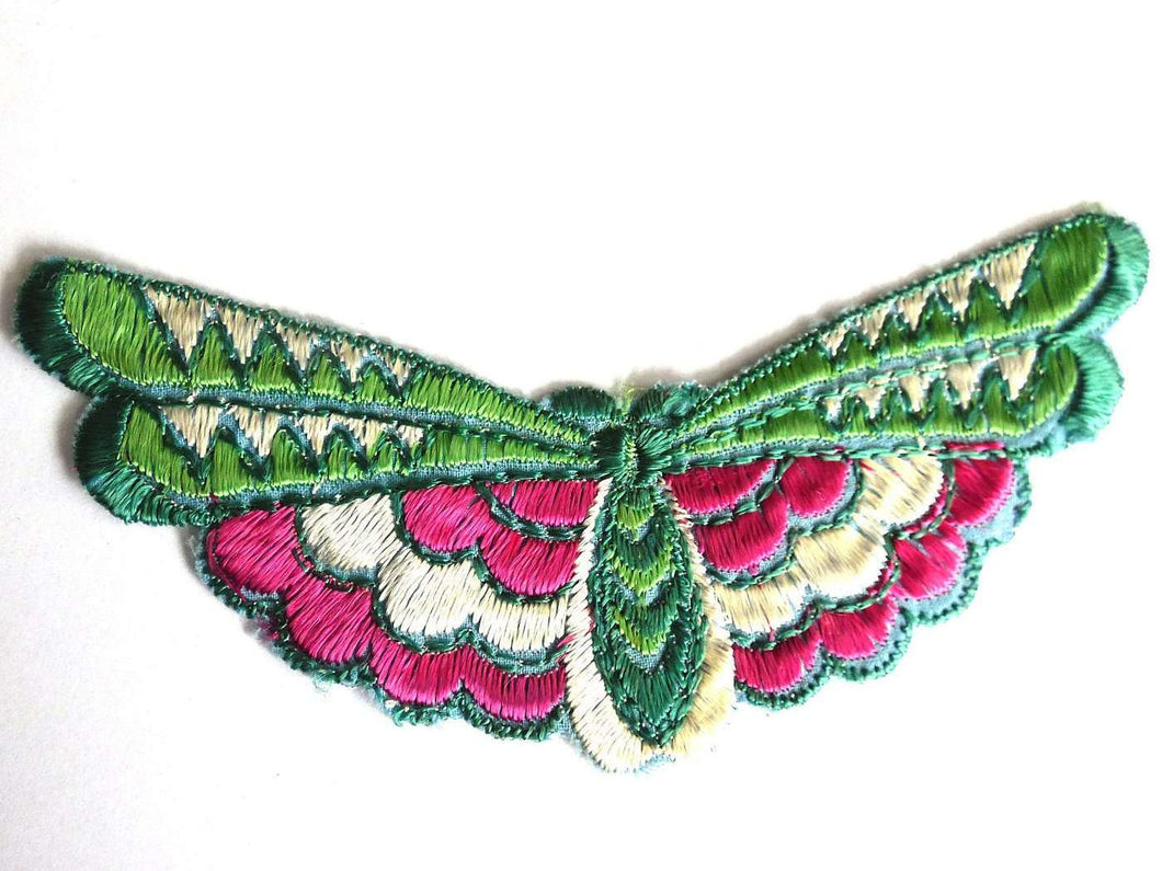 UpperDutch:Sewing Supplies,Butterfly applique 1930s vintage embroidered applique. Vintage patch, sewing supply Antique Applique, Crazy quilt.