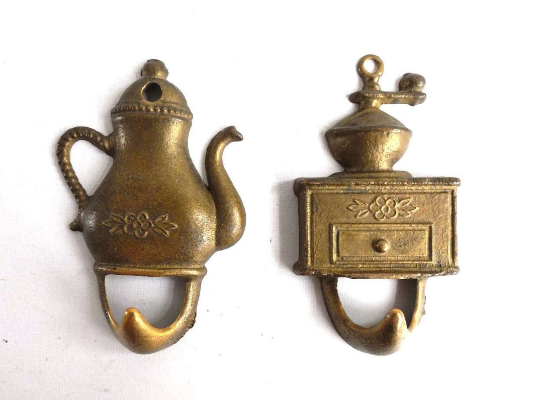 UpperDutch:Hooks and Hardware,Set of 2 Brass Kitchen hooks, Towel hooks. Small Vintage hooks.