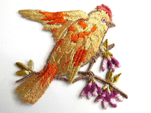 UpperDutch:Sewing Supplies,Bird Applique 1930s Vintage Embroidered Bird and Flowers applique. Vintage patch, sewing supply.