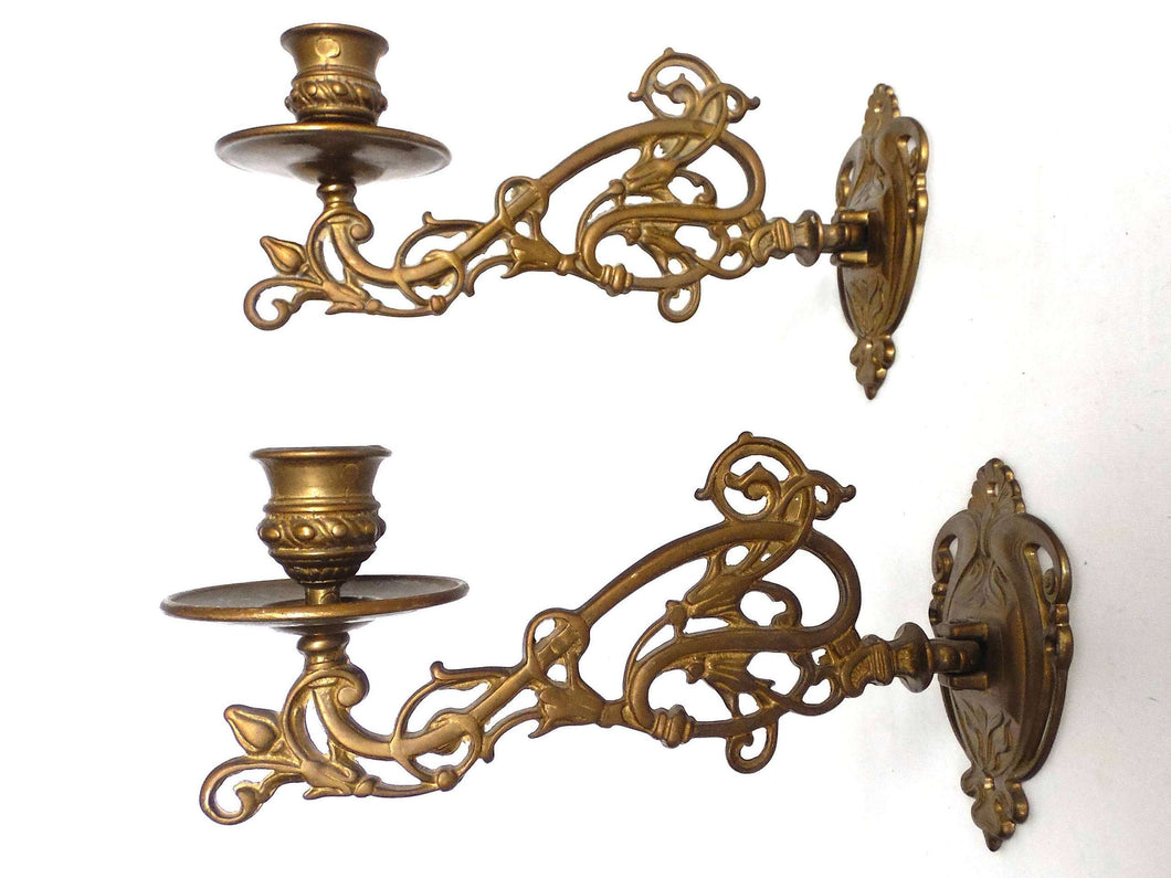 UpperDutch:Candelabras,Pair Vintage Solid Brass Victorian Piano Candelabra, Set piano candle holders, candle wall sconce. Old lighting, antique decor.
