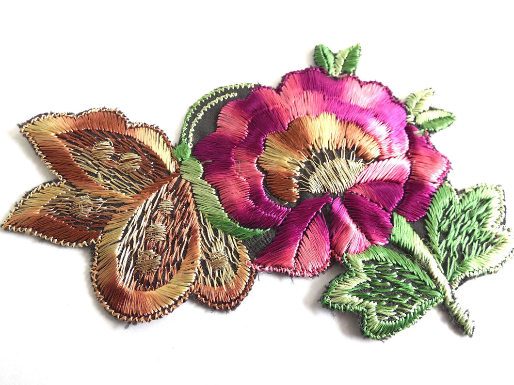 UpperDutch:Sewing Supplies,Antique Applique butterfly on flower applique, 1930s vintage embroidered applique. Vintage floral patch, sewing supply.