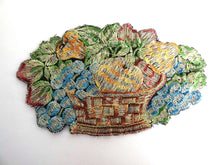 UpperDutch:Sewing Supplies,Fruit basket applique, 1930s vintage embroidered applique. Vintage patch, sewing supply.