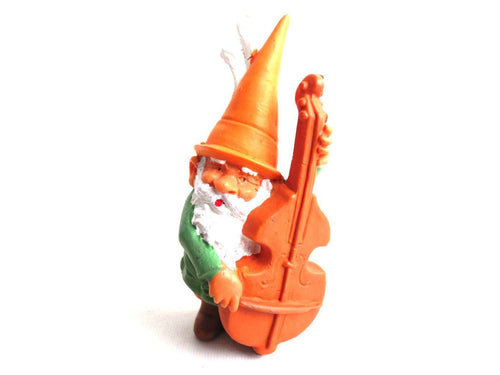 UpperDutch:Gnome,ONE Music Gnome figurine, Cello playing gnome. After a design by Rien Poortvliet, Brb collectible pocket, miniature garden gnome.