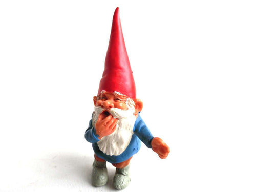 UpperDutch:Gnomes,1 (ONE) Gnome figurine, David calling Swift the Fox by whistling, after a design by Rien Poortvliet, Brb Gnome, David the Gnome.