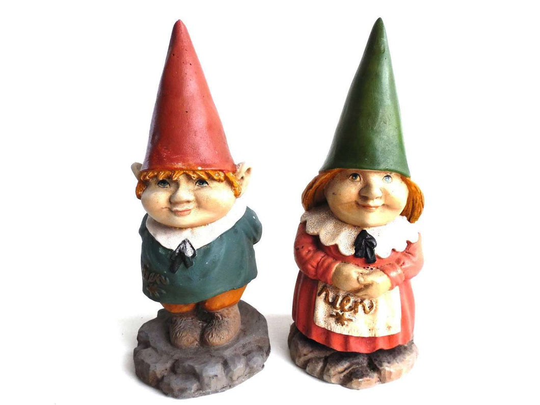 UpperDutch:Gnomes,Set of 2 Gnome Figurines, Original Poortvliet figurines.  Collectible Rare gnome kids of David and Lisa the Gnome.