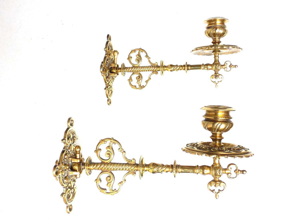 UpperDutch:Candelabras,Piano Sconces, Pair Vintage Solid Brass Victorian Piano Candle holders, Set piano candle holders, candle wall sconce.