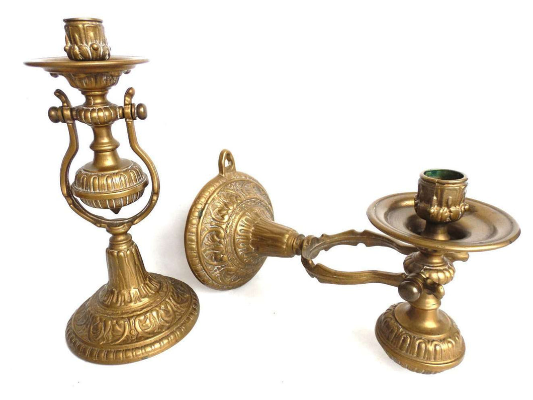 UpperDutch:Candelabras,Set of 2 Nautical Sconces - Pair Antique Brass Nautical Sconce - candle holder - candle wall sconce - Ship Sconces - Gimble.