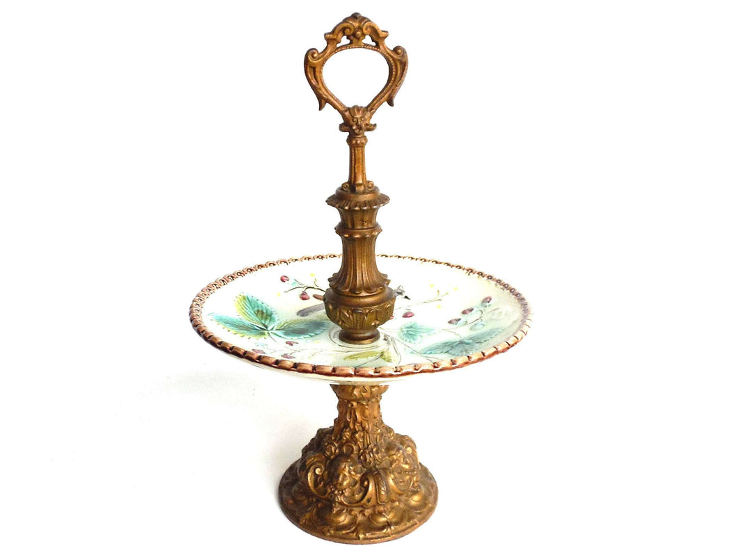 UpperDutch:Home and Decor,Antique Serving Stand, Etagere, Majolica, Bon Bon stand, serving tray dish, Ceramic serving tray with handle.