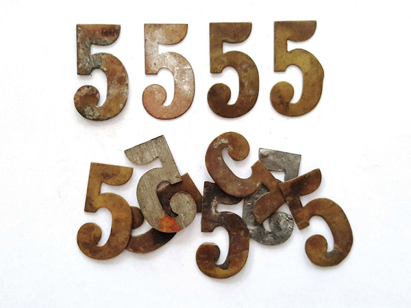 UpperDutch:Numbers,ONE Antique Five, Number 5, Authentic Shabby Brass Number Five. Room number / Table number