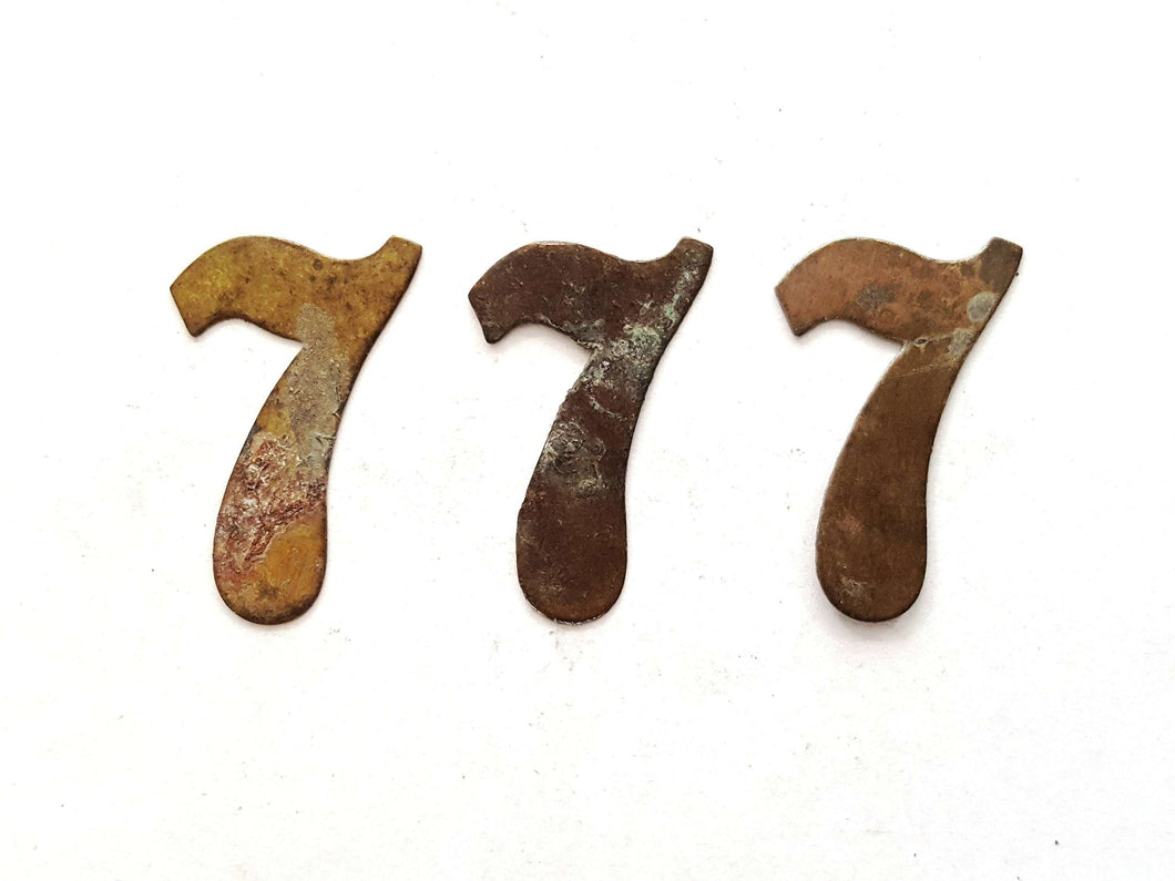 UpperDutch:Numbers,ONE Antique Seven, Number 7, Authentic Shabby Brass Number Seven. Room number / Table number