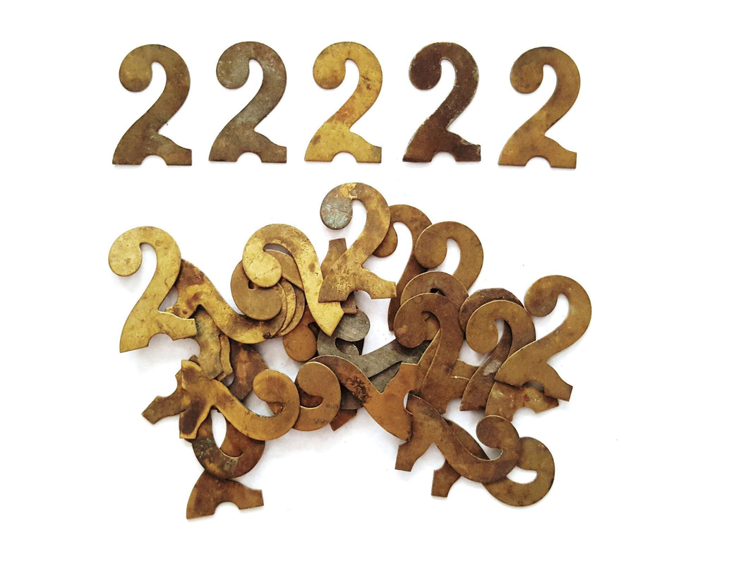 UpperDutch:Numbers,ONE Antique Two, Number 2, Authentic Shabby Brass Number Two. Room number / Table number