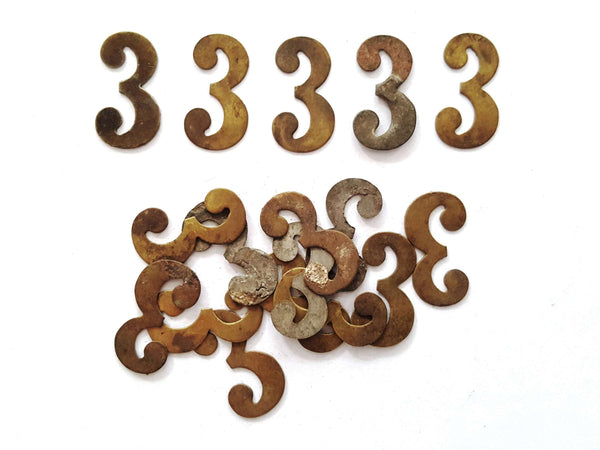 UpperDutch:Numbers,ONE Antique Three, Number 3, Authentic Shabby Brass Number Three. Room number / Table number