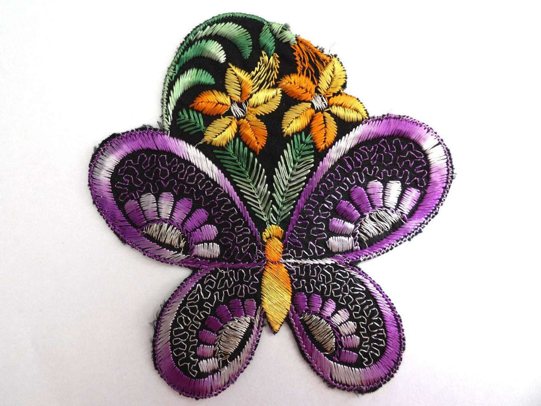 UpperDutch:Sewing Supplies,Butterfly Applique, Flower applique, 1930s vintage embroidered applique. Vintage floral patch, sewing supply, silk patch.