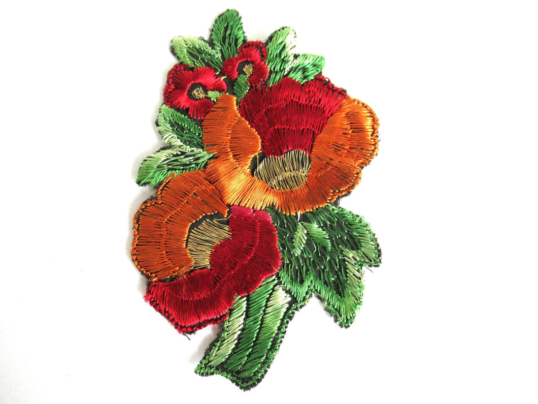 UpperDutch:Sewing Supplies,Flower applique 1930s vintage embroidered applique. Vintage floral patch, sewing supply.