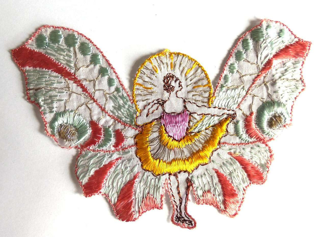 UpperDutch:Sewing Supplies,Applique, fairy, butterfly applique, 1930s vintage embroidered applique. Vintage patch, sewing supply.