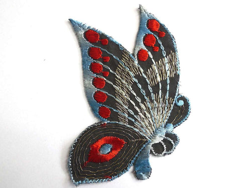 UpperDutch:Sewing Supplies,Patch, Butterfly applique, 1930s vintage embroidered applique. Vintage patch, sewing supply. Applique, Crazy quilt.