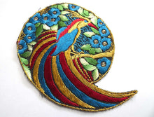 UpperDutch:Sewing Supplies,Bird of paradise Applique 1930s Vintage Embroidered Bird applique, application, patch. Vintage patch, sewing supply.