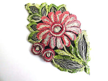 UpperDutch:Sewing Supplies,Flower Applique, 1930s vintage embroidered applique. Vintage floral patch, sewing supply.
