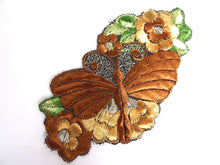 UpperDutch:Sewing Supplies,Applique, butterfly on flower applique, 1930s vintage embroidered applique. Vintage floral patch, sewing supply.