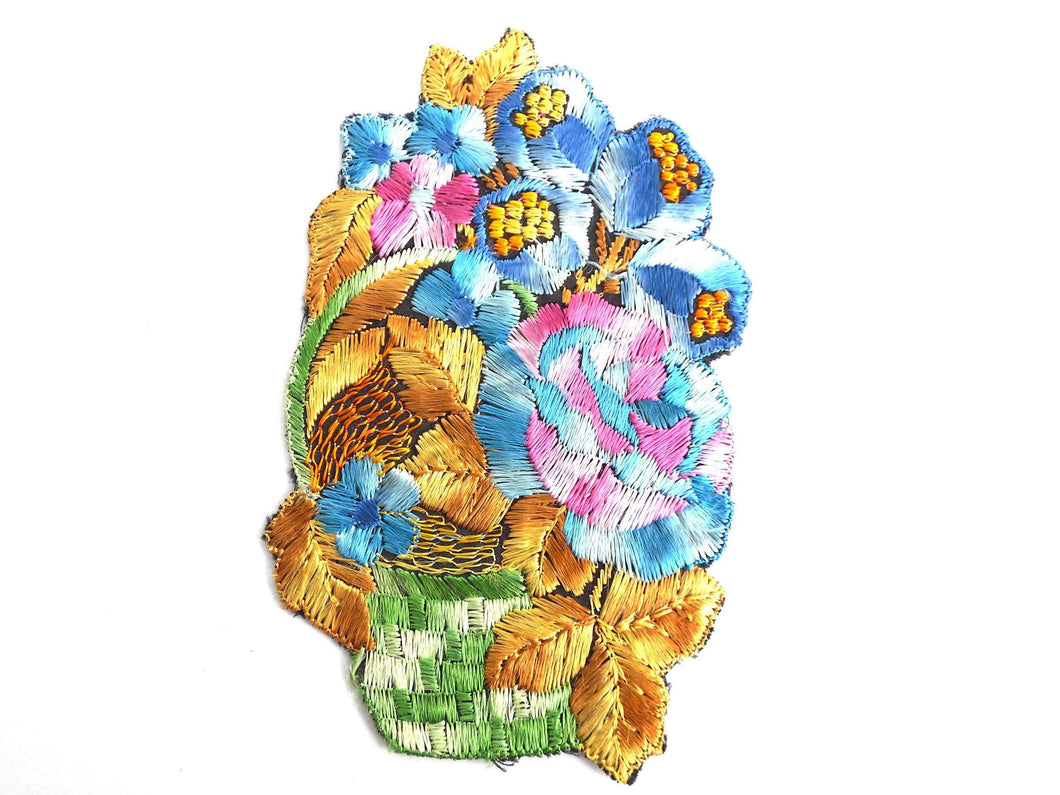 UpperDutch:Sewing Supplies,Flower basket applique, 1930s vintage embroidered applique.