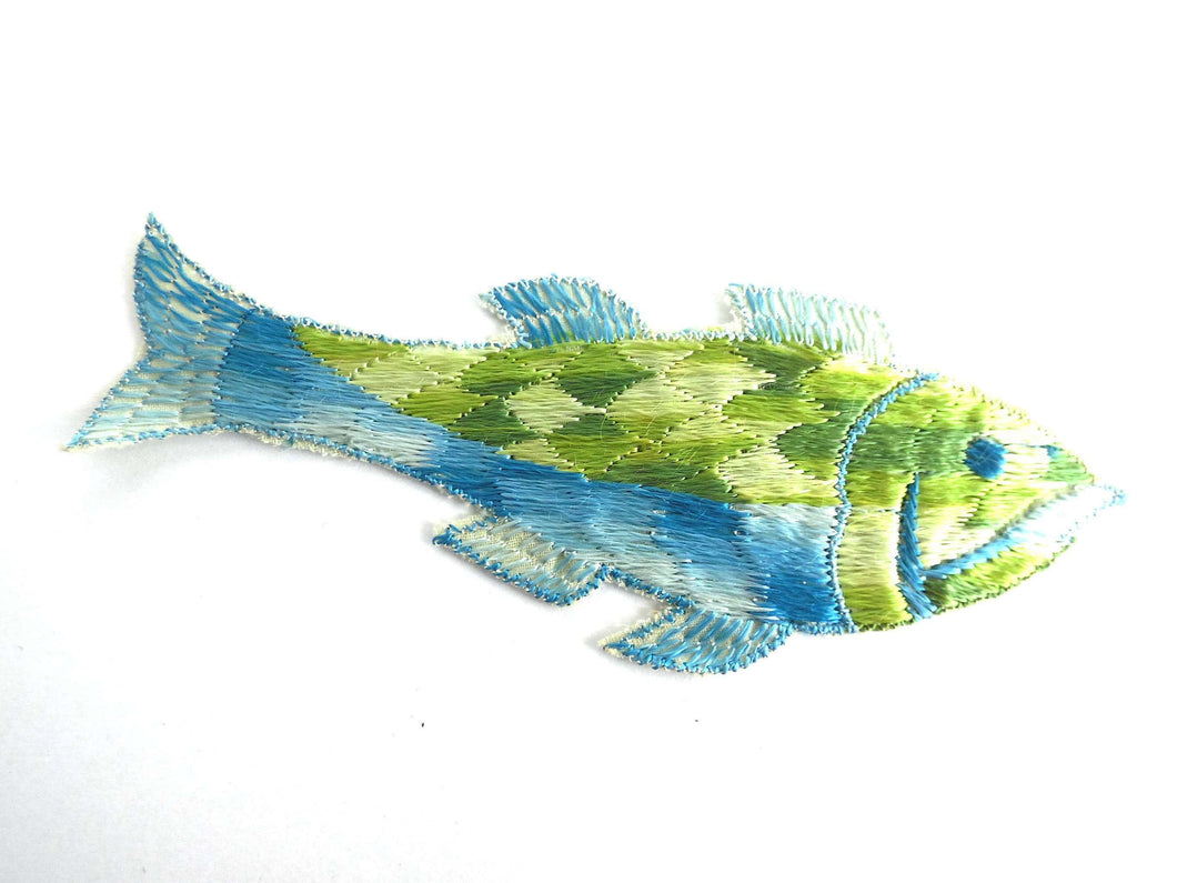 UpperDutch:Sewing Supplies,Fish Applique, 1930s Vintage Embroidered Fish applique, application, patch. Vintage patch, sewing supply.