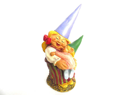 UpperDutch:Gnomes,Lisa the Gnome with Child Gnome figurine 8 INCH Gnome after a design by Rien Poortvliet, David the Gnome.