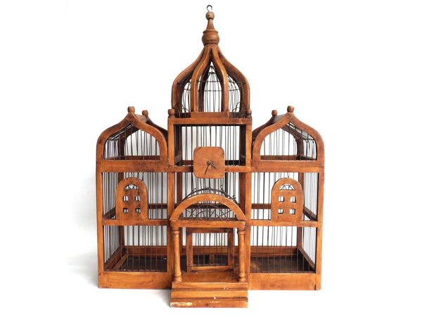 UpperDutch:Birdcage,Bird Cage, Antique Wooden Bird Cage, Antique French Home Decor, Antique Bird Cage.