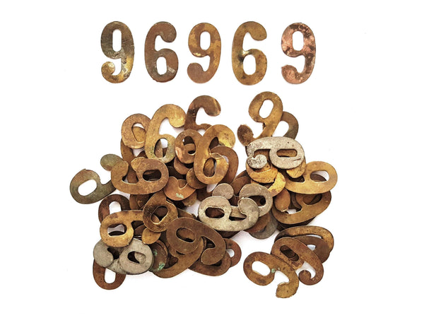 UpperDutch:Numbers,ONE Antique Six or Nine, Number 6 or 9, Authentic Shabby Brass Number Nine or Six. Room number / Table number