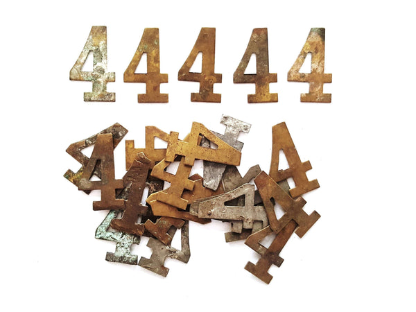 UpperDutch:Numbers,ONE Antique Four, Number 4, Authentic Shabby Brass Number Four. Room number / Table number