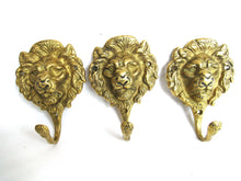 UpperDutch:Hooks and Hardware,Set of 3 Vintage Lion Head Coat hooks, Wall hook, Lion Coat Hook.