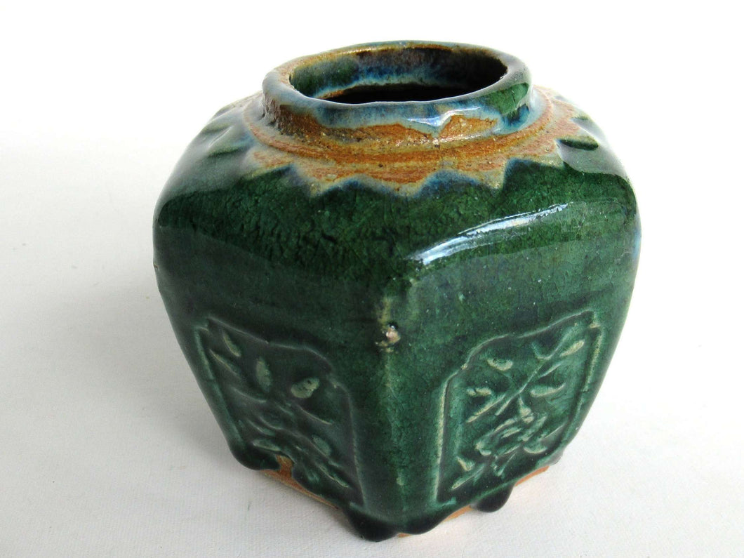 UpperDutch:Ginger Jar,Ginger Jar, Vintage Green Glazed Ginger Jar, Collectible pottery.