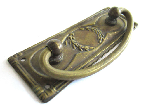 UpperDutch:Hooks and Hardware,1 (ONE) NOS Brass Antique Drawer Handle with laurel, Old cabinet pull escutcheon, hanging pull.