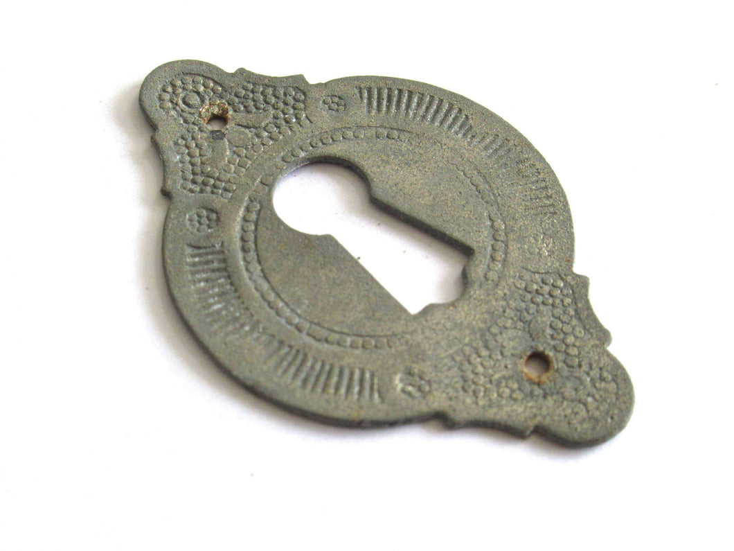 UpperDutch:Hooks and Hardware,Distressed Antique Escutcheon Metal Keyhole, shabby key hole frame / plate