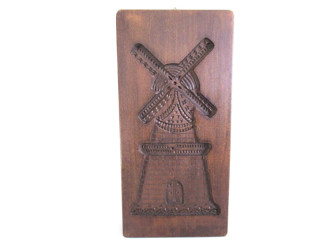 UpperDutch:,Dutch Windmill wooden cookie mold. Hand carved antique wooden mold made in Holland. The Netherlands, springerle, spiced cookies.