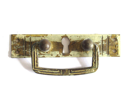 UpperDutch:Hooks and Hardware,1 (ONE) Tiny Antique shabby Art deco Keyhole cover / Shabby Cabinet drop pull / Old Key Hole Plate / Hanging Handle / Escutcheon