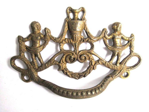 UpperDutch:Pull,Detailed Furniture Drawer Pull. An Antique Brass Drawer Handle. Empire embellishment. Authentic 1800's restoration hardware