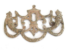 UpperDutch:,Shabby Keyhole cover, escutcheon. Distressed keyhole frame plate. Authentic old furniture hardware. restoration supply.