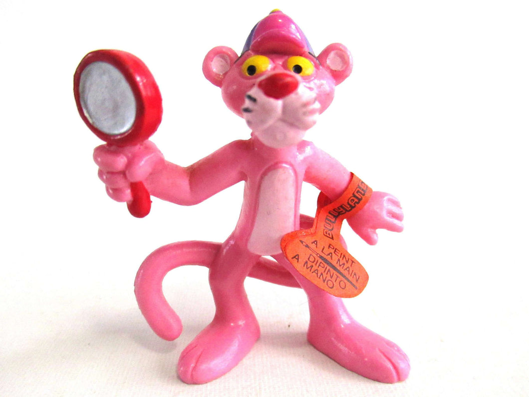UpperDutch:,Pink Panther with magnifying glass Pvc Figurine Bully 1983 United Artists West Germany.