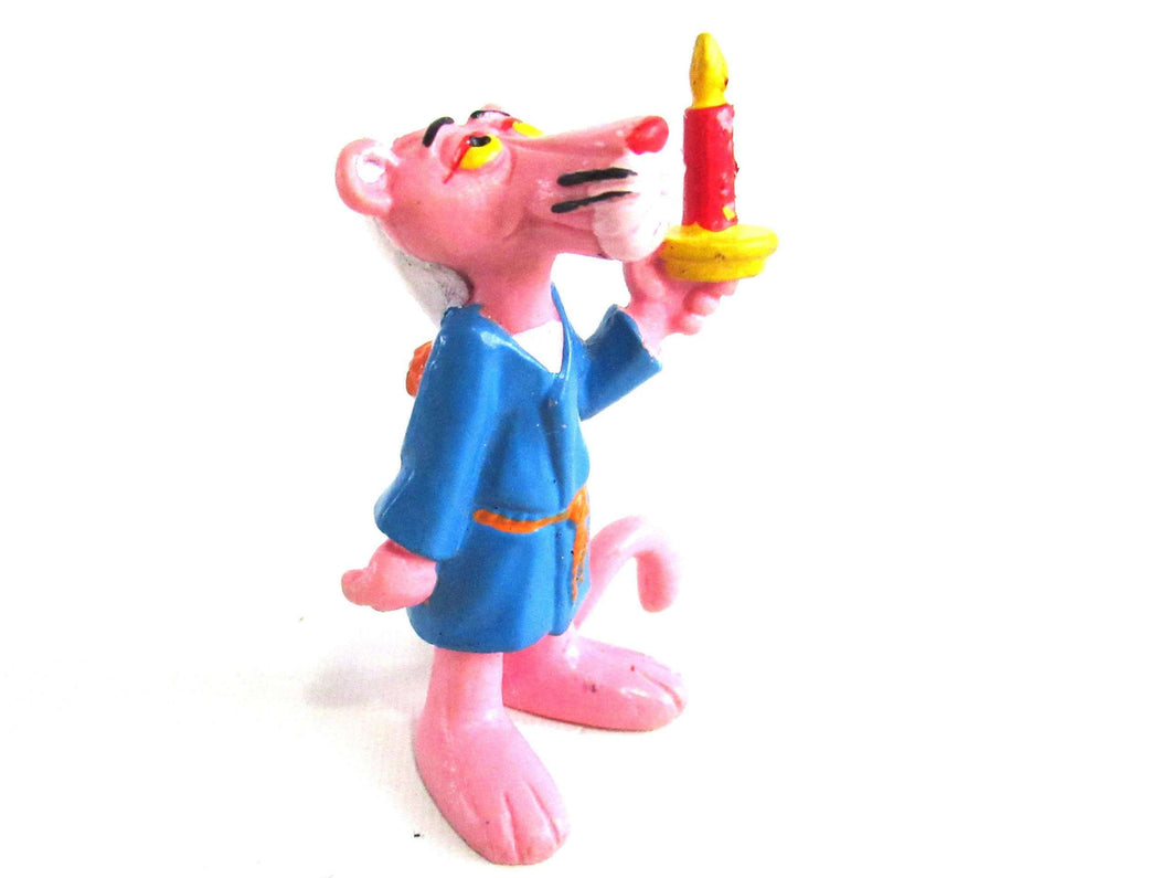 UpperDutch:,Pink Panther in Bathrobe holding a Candle Pvc Figurine Bully 1983 United Artists West Germany.