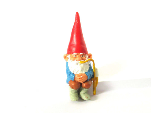 UpperDutch:Gnome,ONE David the Gnome figurine after a design by Rien Poortvliet, Brb gnome, Sitting Gnome smoking pipe ,mini garden gnome.