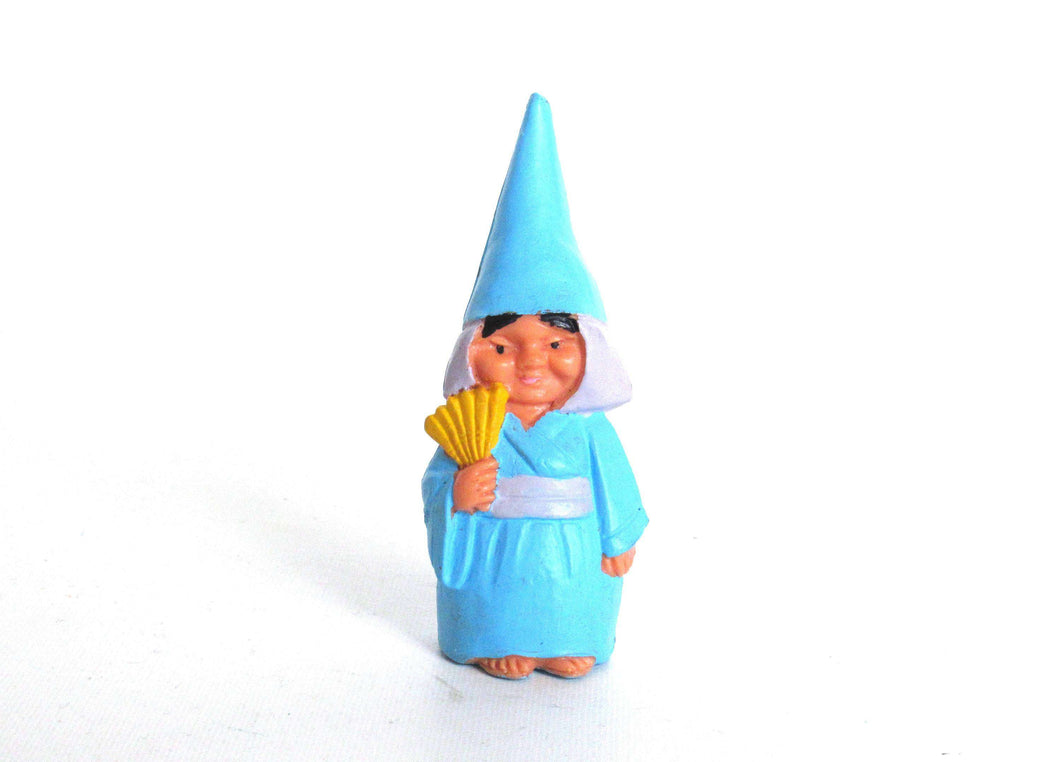 UpperDutch:,ONE Women Gnome figurine, after a design by Rien Poortvliet, Brb collectible pocket gnome, mini garden gnome.