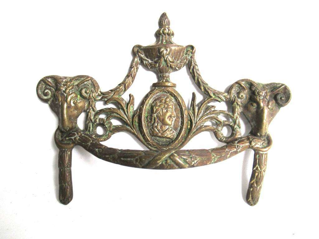 UpperDutch:,Rams head hardware. Drawer pull. Antique Brass Drawer Handle. Furniture Applique with Pull. Late 18th century restoration hardware