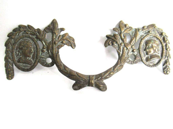 UpperDutch:Pull,Drawer pull. Antique Brass Drawer Handle. Furniture Applique with Pull. Late 18th century restoration hardware.