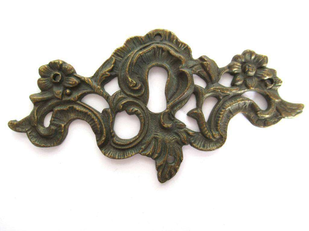 UpperDutch:,Escutcheon, Antique Brass Keyhole cover, keyhole frame plate, floral. Victorian, art nouveau furniture hardware. Jugendstil
