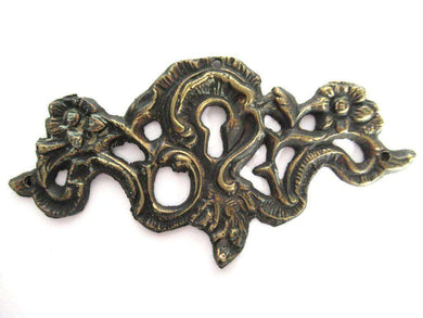 UpperDutch:Keyhole cover,Keyhole frame Escutcheon, Antique Brass Key hole cover, plate, floral. Victorian, art nouveau furniture hardware. Jugendstil